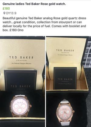 Stunning genuine Ted Baker ladies watch, great condition £180 Ono