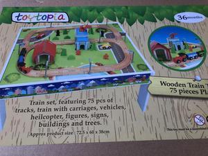 75 piece toy train set wooden