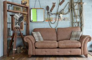 Chesterfield Vintage Suede 3 Seater Sofa Brown Studs