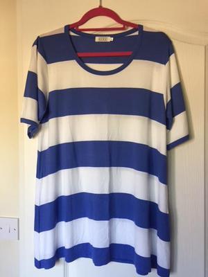 Masai Blue & White Striped T Shirt XL