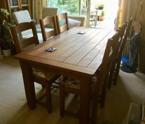 Oak dining table & 6 chairs & 2 extensions (M&S Hemsley)