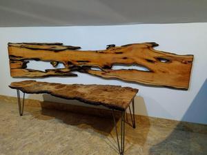 Scottish Burr Oak Coffee Table on hairpin legs