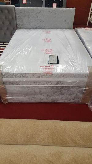 crush silver crushed velvet 4ft6 double divan bed with mattr