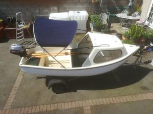 fishing boat day boat with trailer and fourstroke outboard