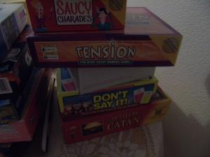 variety of board games and puzzles