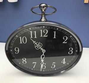 Black nickel wall clock 38cm wide x 30cm tall
