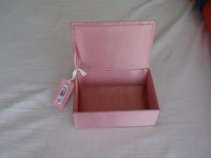 Pink Satin Jewellery Box with Silver Sequin Lid