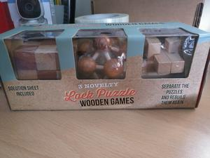 Set of 3 Novelty Wooden Lock Puzzle Games (Brand new)