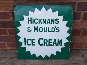 VINTAGE 30s ENAMEL ICE CREAM ADVERTISING SIGN HOME SHOP PROP