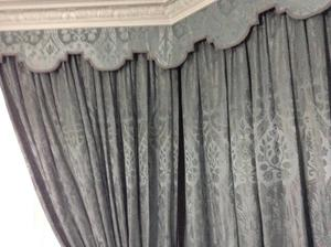 A pair of Vintage real SILK PAIR CURTAINS with stays W 3 m,