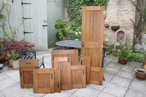 Kitchen Doors Solid OAK - 23 various sizes as below with hinges and handles