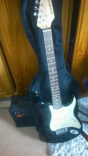 Westfield black n white electric guitar with stagg amp