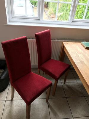 Set of 6 dining room chairs finished in dark red cloth in good condition