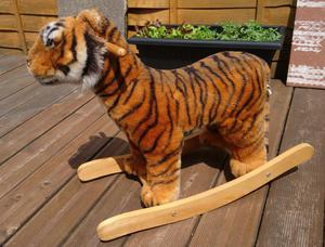 Tiger Plush Rocking Horse with 'roar'. + Wooden rocking