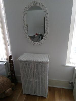 Wicker cabinet and matching mirror