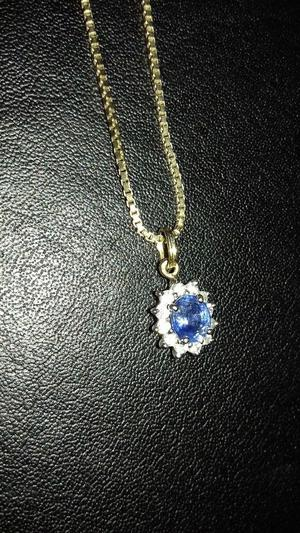9CT GOLD DIAMOND AND SAPPHIRE PENDANT ON 16 IN BOX CHAIN