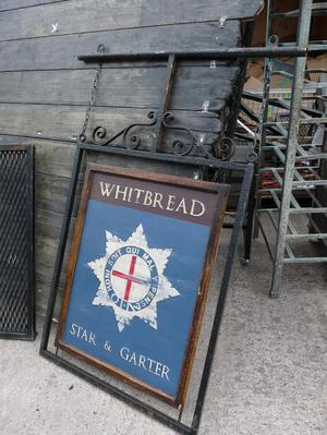 Pub Sign Star and Garter Prop Metal Frame Wood Breweriana