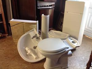 White second hand handbasin toilet bathroom cabinet floor unit all in good condition