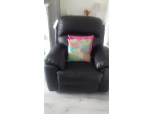 Black leather reclining armchair in Wigan
