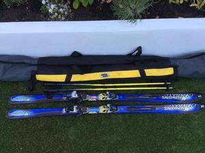 Salamon Axedo cm) Skis with Salmon 800 Bindings, plus Rossingol Poles (120cm) and Ski Bag