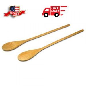 18-Inch Long Handle Wooden Cooking Mixing Spoon, Birch Wood