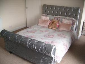 Silver crushed velvet chesterfield sleigh double bed