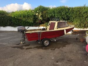 14 ft cabin boat outboard trailer