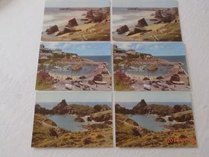 Collection of 6 Vintage s post cards and souvenir photo book from Cornwall
