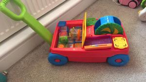 Fisher price cart and bricks toy