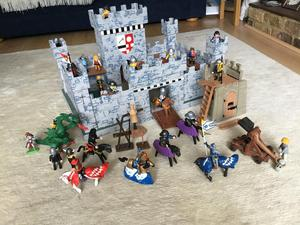 Handmade Wooden Castle with Playmobile figures