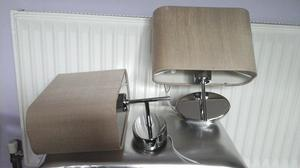 Lovely Pair of Chrome and Cream Wall Lights