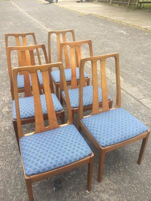 Set 6 Late 70's Nathan Teak Dining Chairs