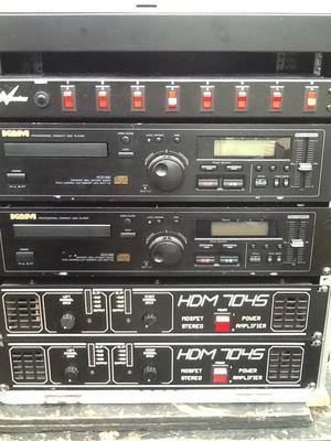 2 X amplifiers 2Xcd players 1 X flightcase 1 X light switch unit