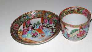Antique Chinese export Canton rose mandarin porcelain cup &
