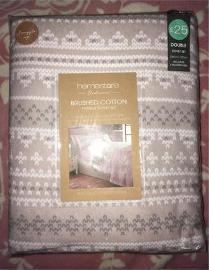 Brand New Brushed Cotton Double Bed Set Rrp £25