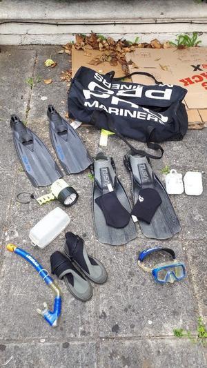 Diving Equipment (mask, snorkel, neoprene socks, neoprene shoes, flashlight, fins and bag)