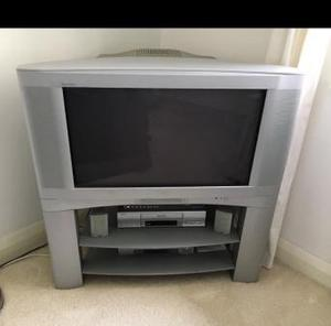 JVC 32 inch silver TV with stand subwoofer surround sound
