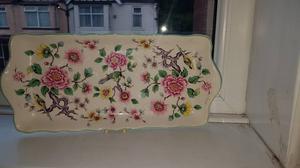 James Kent Regal 12 Peony flowers and birds Sandwich dish tray.