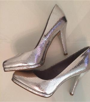 M&S Brand New Silver Party Shoes High Heels Size 4 Brand New