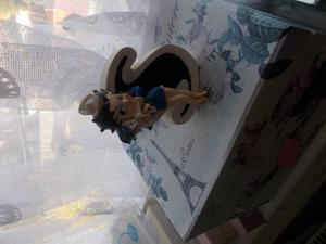 betty boo figurine ornament holding a dog with the letter S