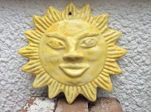 Ceramic Sun Faced Wall Plaque