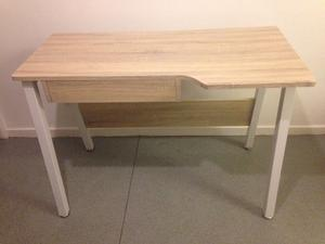 Computer Desk with Drawer in Limed Oak with Metal Legs Cost £175 Hardly Used Dismantles