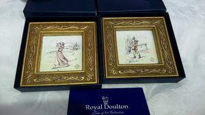 ROYAL DOULTON MINIATURES - A MALE AND A FEMALE GOLFER - MINT CONDITION, NEVER BEEN ON DISPLAY