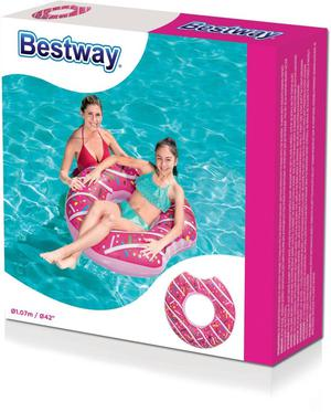 107 cm Bestway Inflatable Donut Lounger Swim Ring Swimming