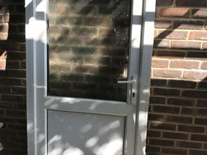 Half glazed white pvc door