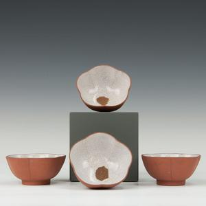 Set of 4 Yixing stoneware pieces, tea cups with glazed