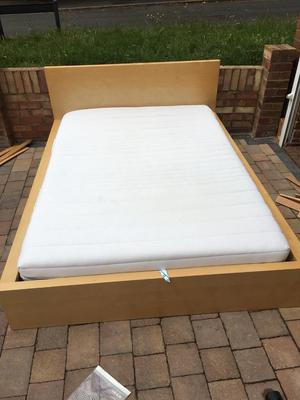 Ikea malm double bed with clean mattress