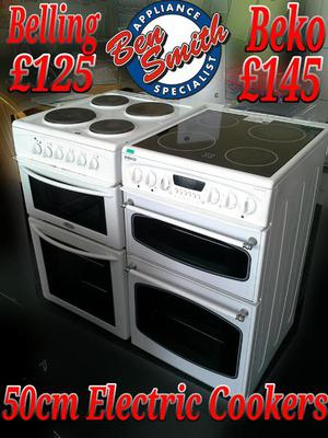 Electric Cooker 50cm White Beko Double Oven Belling oven &