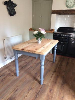 Heavy solid pine kitchen table - fully refurbished