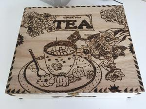 Pyrography Handmade, Wooden Tea box for sale!